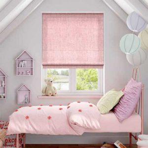 Rèm roman phòng bé gái màu hồng