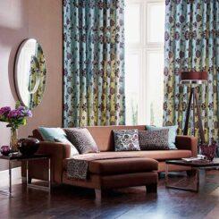 Mẫu phòng khách phong cách chiết trung với rèm cửa